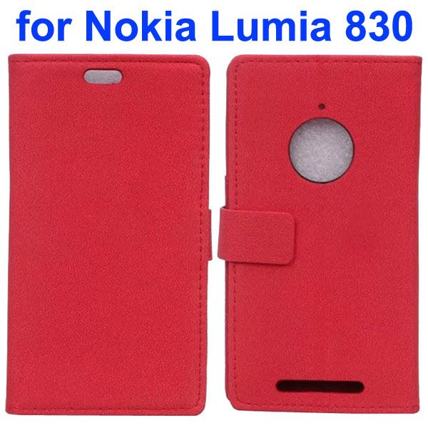 Stone Texture Leather Wallet Case Flip Cover for Nokia Lumia 830 with Card Slots (Red)