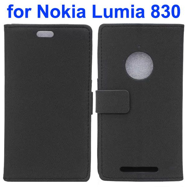 Stone Texture Leather Wallet Case Flip Cover for Nokia Lumia 830 with Card Slots (Black)