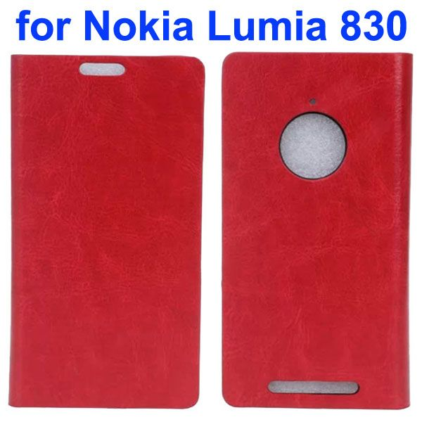 Crystal Texture Mobile Phone Leather Flip Wallet Case Cover for Nokia Lumia 830 (Red)