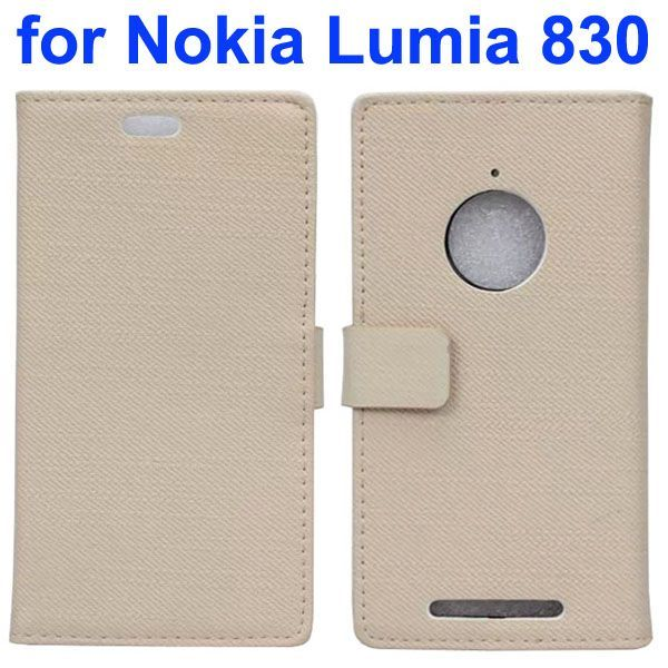 Fabric Cloth Texture Wallet Leather Case for Nokia Lumia 830 with Card Slots (White)