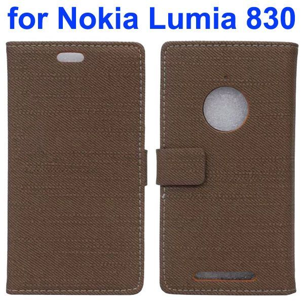 Fabric Cloth Texture Wallet Leather Case for Nokia Lumia 830 with Card Slots (Brown)