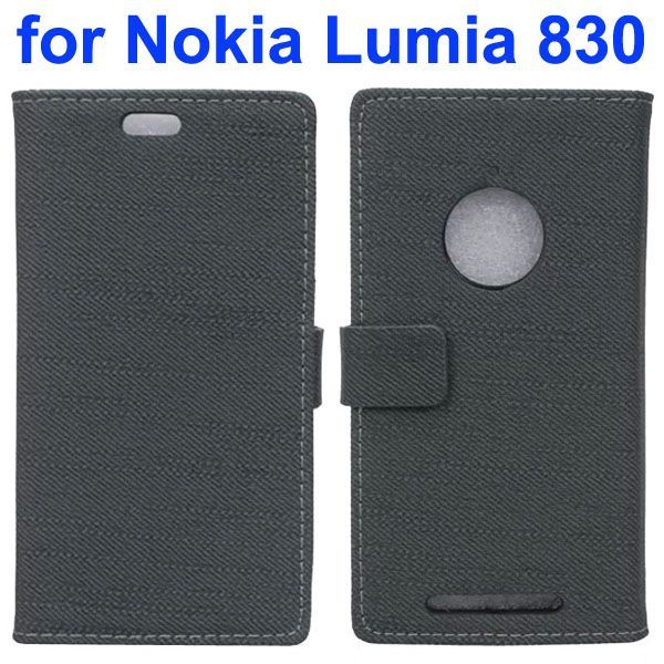 Fabric Cloth Texture Wallet Leather Case for Nokia Lumia 830 with Card Slots (Light Black)