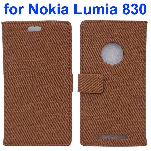 Fabric Cloth Texture Wallet Leather Case for Nokia Lumia 830 with Card Slots (Coffee)