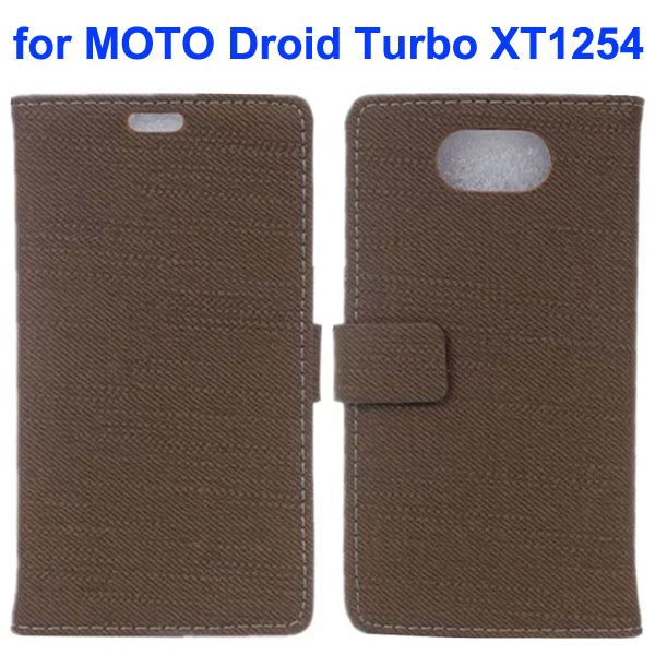 Cloth Texture Magnetic Closure Flip Leather Case for Moto Droid Turbo XT1254 with Card Slots (Brown)
