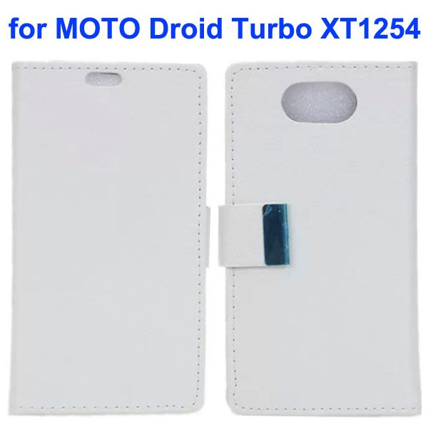 Karst Texture Wallet Style Flip Leather Case for Moto Droid Turbo XT1254 with Magnetic Closure (White)