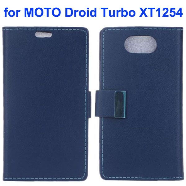 Karst Texture Wallet Style Flip Leather Case for Moto Droid Turbo XT1254 with Magnetic Closure (Dark Blue)