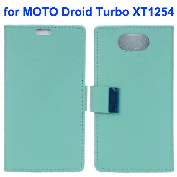 Karst Texture Wallet Style Flip Leather Case for Moto Droid Turbo XT1254 with Magnetic Closure (Light Blue)