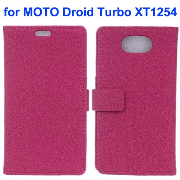 Stone Texture Wallet Style Leather Flip Cover Case for Moto Droid Turbo XT1254 with Card Slots (Rose)