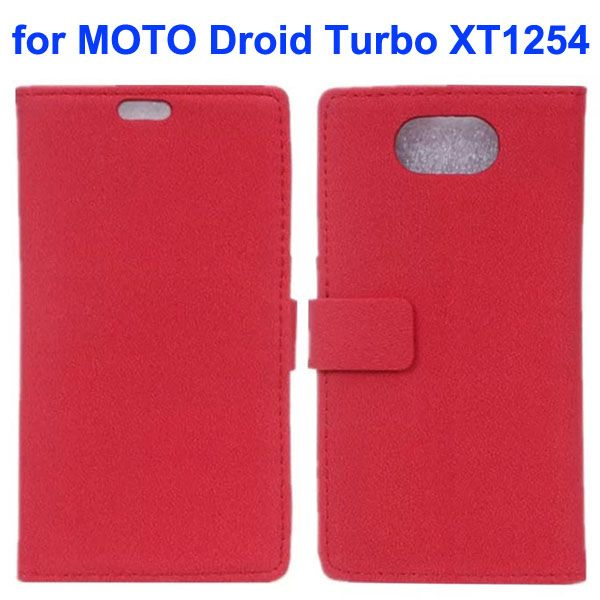Stone Texture Wallet Style Leather Flip Cover Case for Moto Droid Turbo XT1254 with Card Slots (Red)