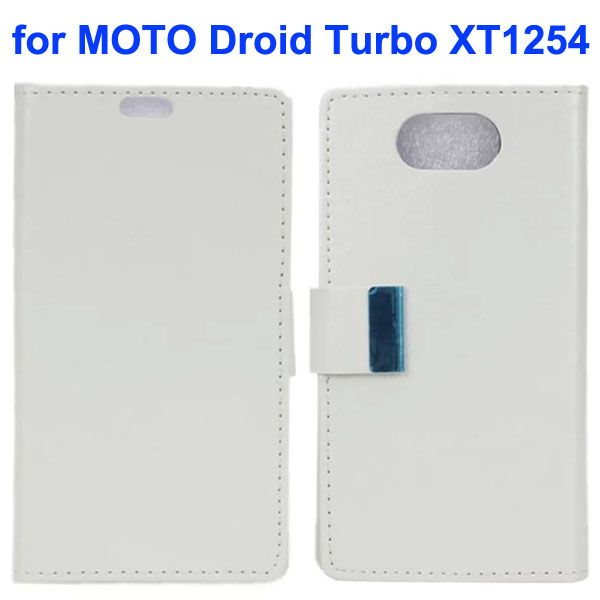 Crazy Horse Texture Flip Leather Wallet Case for Moto Droid Turbo XT1254 with Metal Buckle (White)