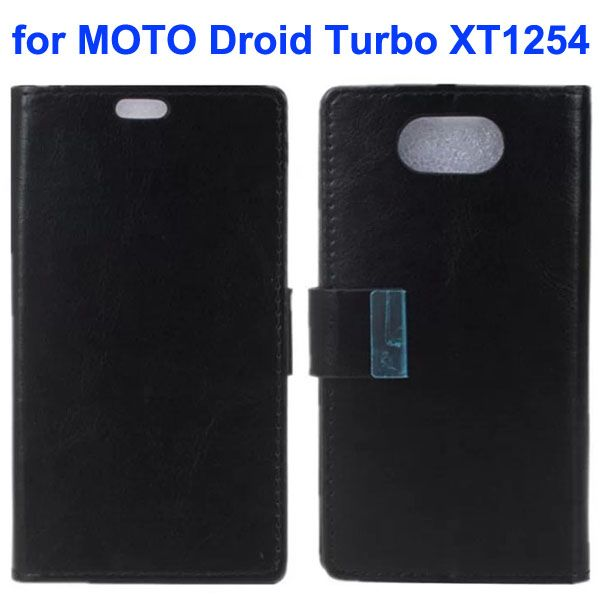 Crazy Horse Texture Flip Leather Wallet Case for Moto Droid Turbo XT1254 with Metal Buckle (Black)