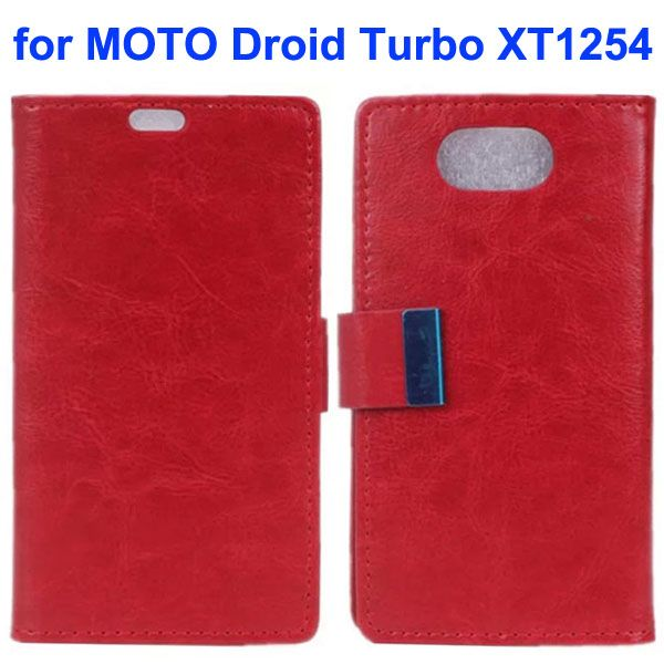 Crazy Horse Texture Flip Leather Wallet Case for Moto Droid Turbo XT1254 with Metal Buckle (Red)