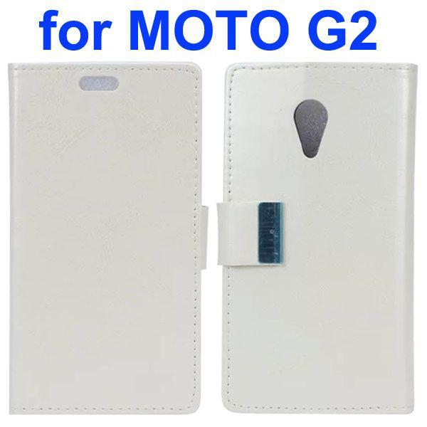 Crazy Horse Texture Flip Leather Case for Motorola Moto G2 (White)