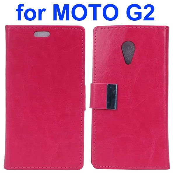 Crazy Horse Texture Flip Leather Case for Motorola Moto G2 (Rose)