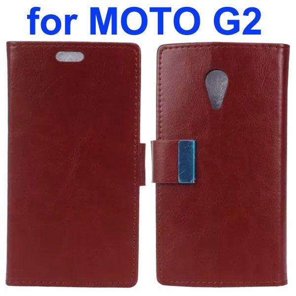 Crazy Horse Texture Flip Leather Case for Motorola Moto G2 (Brown)