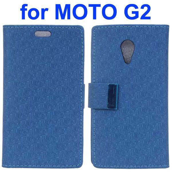 Maze Pattern PU Wallet Leather Flip Cover for Motorola Moto G2 (Blue)