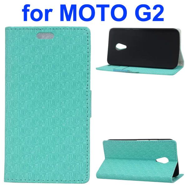 Maze Pattern PU Wallet Leather Flip Cover for Motorola Moto G2 (Green)