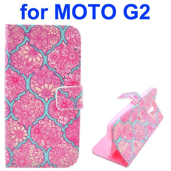 Cross Texture Special Design Wallet Leather Cover for Motorola Moto G2 (Red  Flowers)
