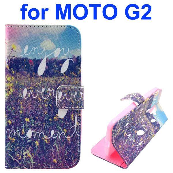 Cross Texture Special Design Wallet Leather Cover for Motorola Moto G2 (Garden Veggies)