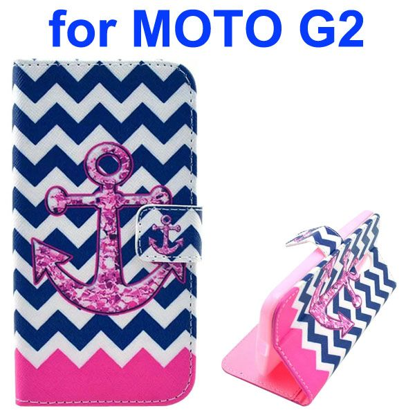 Cross Texture Special Design Wallet Leather Cover for Motorola Moto G2 (Waving Lines and Anchor)