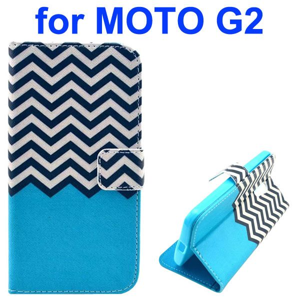 Cross Texture Special Design Wallet Leather Cover for Motorola Moto G2 (Black and White Line)