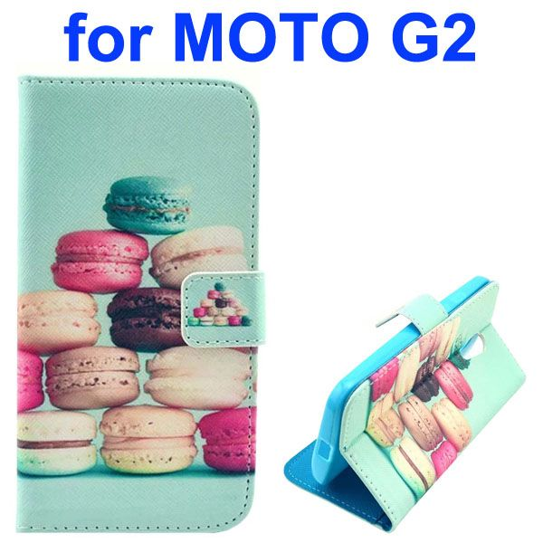 Cross Texture Special Design Wallet Leather Cover for Motorola Moto G2 (Sandwich Biscuit)