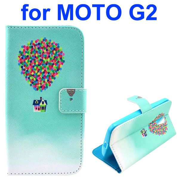 Cross Texture Special Design Wallet Leather Cover for Motorola Moto G2 (Colorful Ballon)