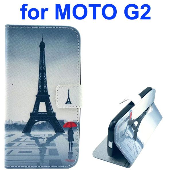 Cross Texture Special Design Wallet Leather Cover for Motorola Moto G2 (Eiffel Tower)