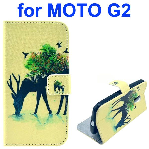 Cross Texture Special Design Wallet Leather Cover for Motorola Moto G2 (Nder)