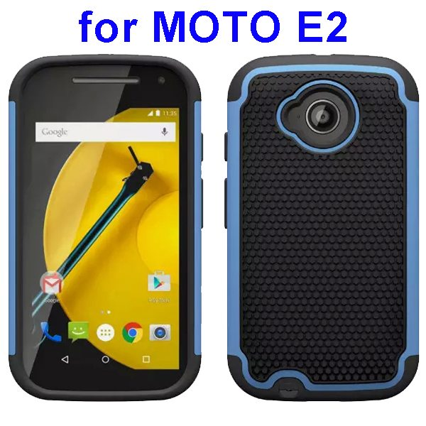 Football Texture Rugged Silicone and PC Protective Hybrid Case for MOTO E2 (Blue)