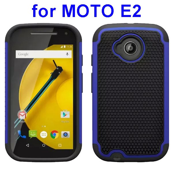 Football Texture Rugged Silicone and PC Protective Hybrid Case for MOTO E2 (Dark Blue)