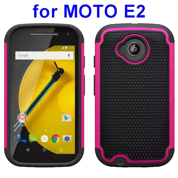 Football Texture Rugged Silicone and PC Protective Hybrid Case for MOTO E2 (Rose)