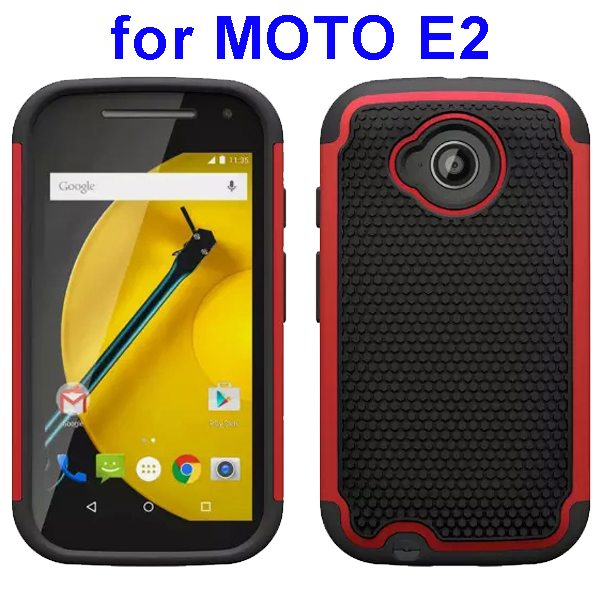 Football Texture Rugged Silicone and PC Protective Hybrid Case for MOTO E2 (Red)