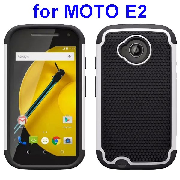Football Texture Rugged Silicone and PC Protective Hybrid Case for MOTO E2 (White)