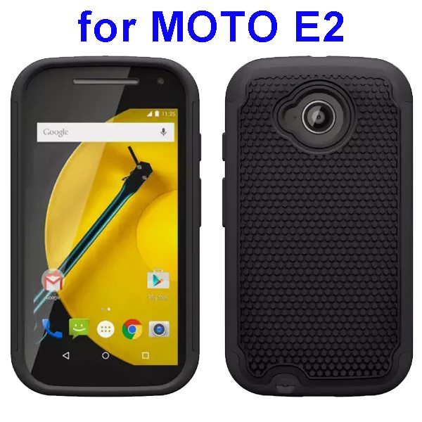 Football Texture Rugged Silicone and PC Protective Hybrid Case for MOTO E2 (Black)