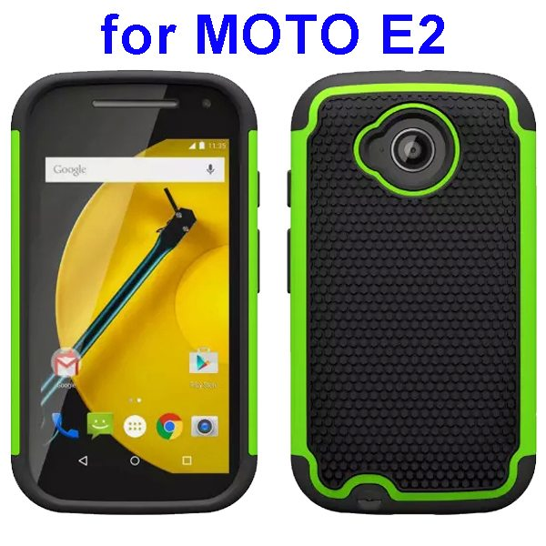 Football Texture Rugged Silicone and PC Protective Hybrid Case for MOTO E2 (Green)