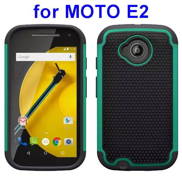 Football Texture Rugged Silicone and PC Protective Hybrid Case for MOTO E2 (Cyan)