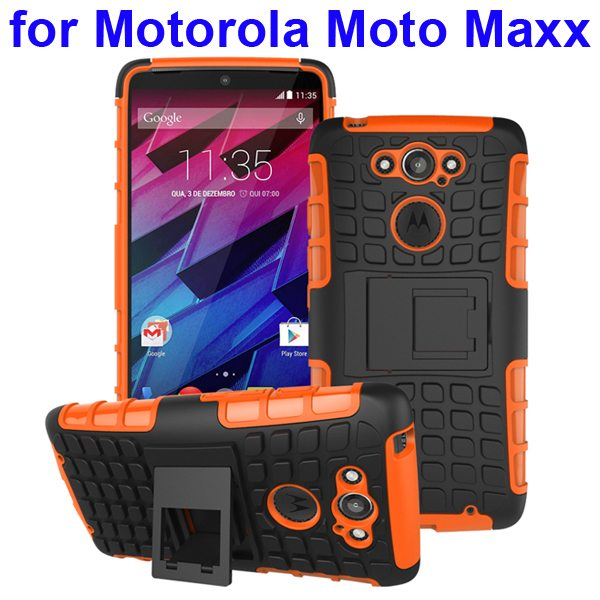 2 in 1 Silicone and Hard Shockproof Hybrid Case Cover for Motorola Moto Maxx (Brown)