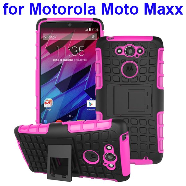 2 in 1 Silicone and Hard Shockproof Hybrid Case Cover for Motorola Moto Maxx (Rose)