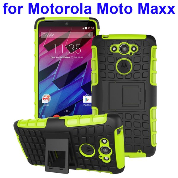 2 in 1 Silicone and Hard Shockproof Hybrid Case Cover for Motorola Moto Maxx (Green)