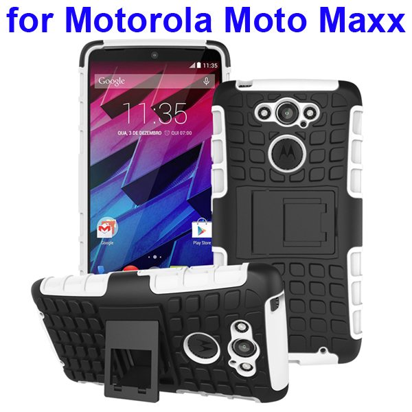 2 in 1 Silicone and Hard Shockproof Hybrid Case Cover for Motorola Moto Maxx (White)