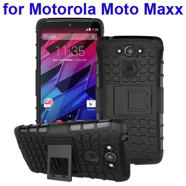 2 in 1 Silicone and Hard Shockproof Hybrid Case Cover for Motorola Moto Maxx (Black)