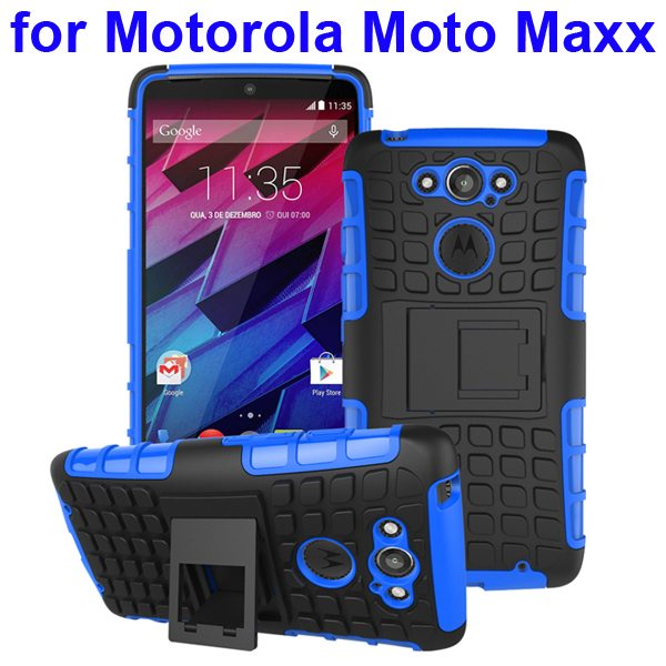 2 in 1 Silicone and Hard Shockproof Hybrid Case Cover for Motorola Moto Maxx (Blue)