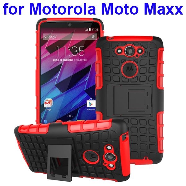 2 in 1 Silicone and Hard Shockproof Hybrid Case Cover for Motorola Moto Maxx (Red)