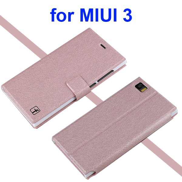 Silk Texture Flip Stand PU Leather Case for Miui 3 with Card Slots (Champagne Gold)
