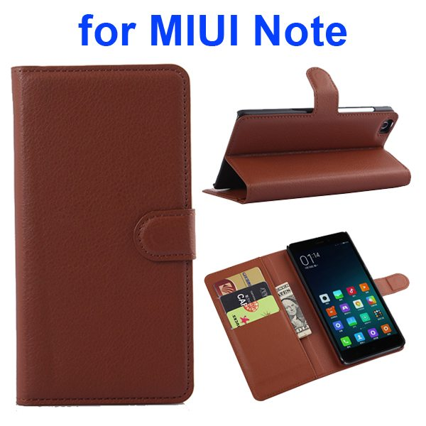 Litchi Texture Wallet Style Flip Case Cover for Xiaomi Note with Card Slots and Stand (Brown)