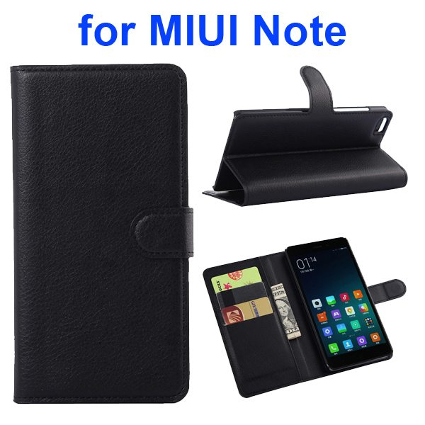 Litchi Texture Wallet Style Flip Case Cover for Xiaomi Note with Card Slots and Stand (Black)