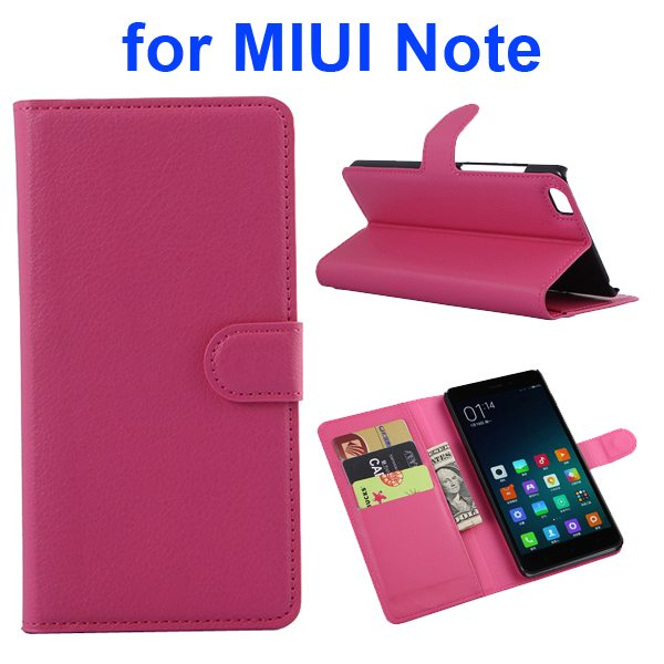 Litchi Texture Wallet Style Flip Case Cover for Xiaomi Note with Card Slots and Stand (Rose)