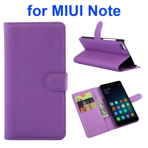 Litchi Texture Wallet Style Flip Case Cover for Xiaomi Note with Card Slots and Stand (Purple)