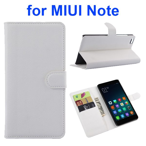 Litchi Texture Wallet Style Flip Case Cover for Xiaomi Note with Card Slots and Stand (White)